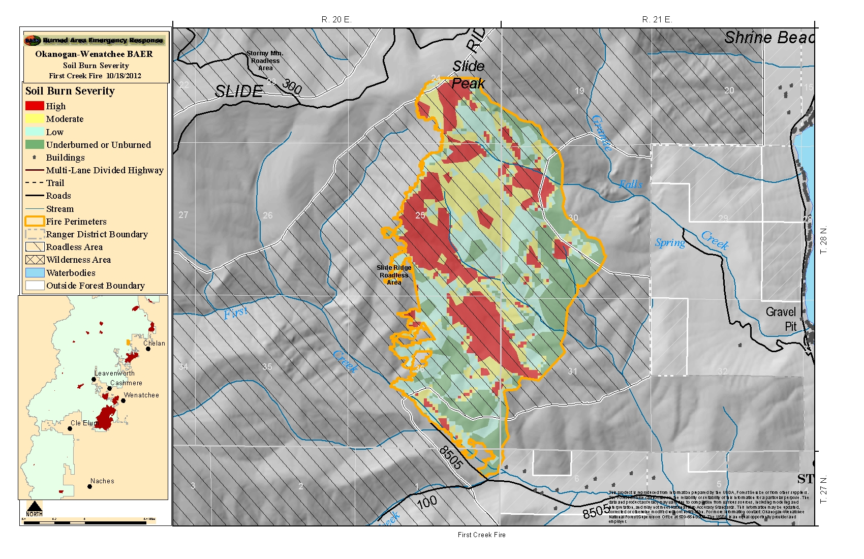 Lane Fire Map.Maps 2012 Central Washington Fire Recovery