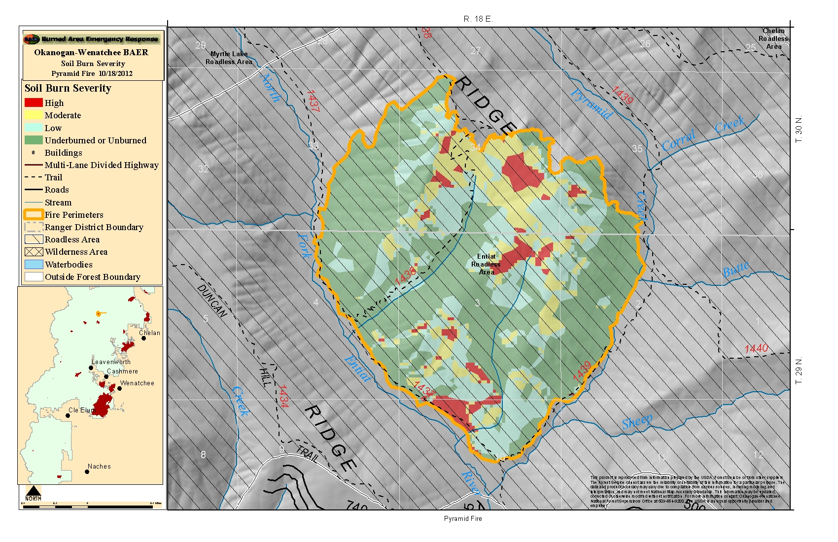 Large Incident Fire Map.Maps 2012 Central Washington Fire Recovery