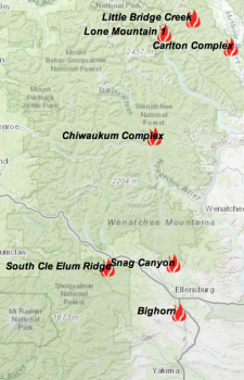 Fire locations north-central Washington 08/08/2014